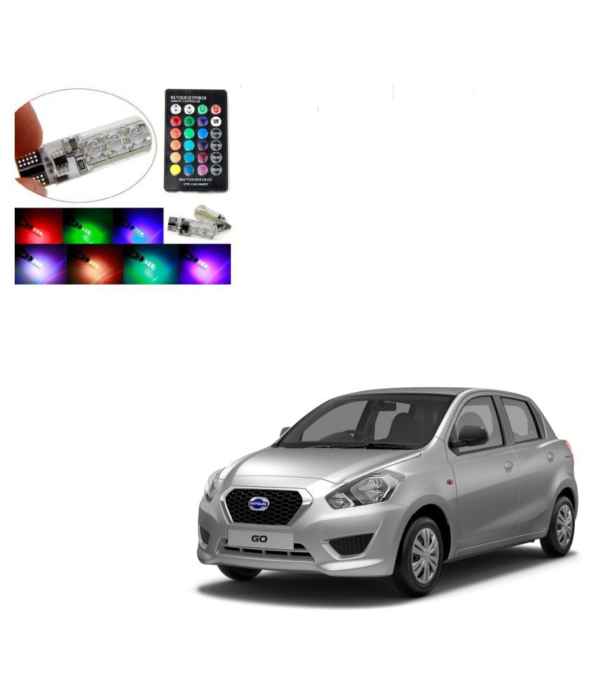 Auto Addict Car 5050 T10 6 SMD Remote Control 12V RGB Car Reading Wedge Lights for Auto Tail Light,Side,Parking,Door,Parking,Indicator,Socket Lighting Bulb 2 Pcs For Datsun Go