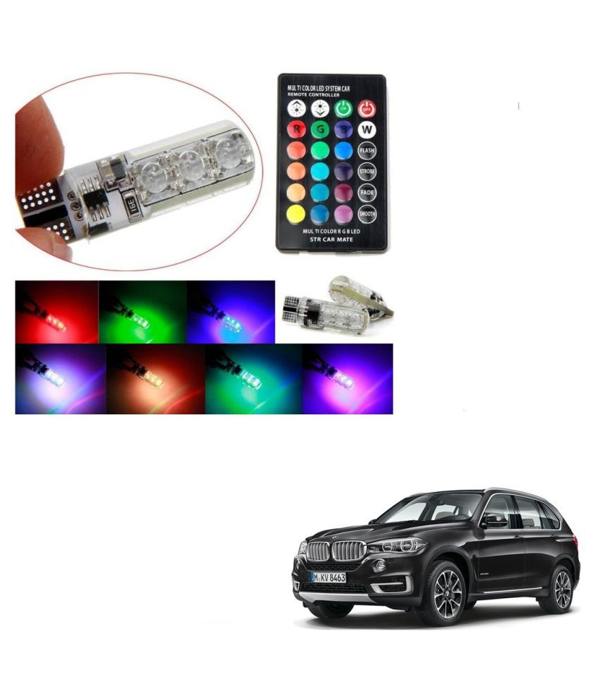 Auto Addict Car 5050 T10 6 SMD Remote Control 12V RGB Car Reading Wedge Lights for Auto Tail Light,Side,Parking,Door,Parking,Indicator,Socket Lighting Bulb 2 Pcs For BMW X5