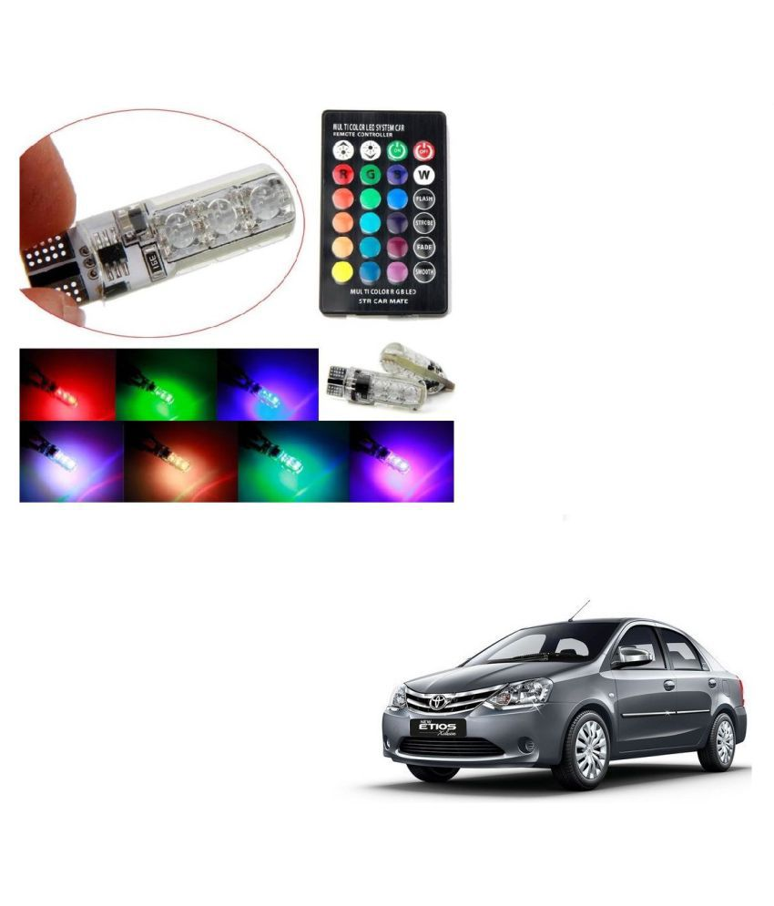 Auto Addict Car 5050 T10 6 SMD Remote Control 12V RGB Car Reading Wedge Lights for Auto Tail Light,Side,Parking,Door,Parking,Indicator,Socket Lighting Bulb 2 Pcs For Toyota Etios