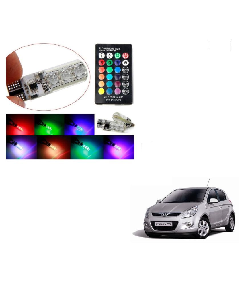 Auto Addict Car 5050 T10 6 SMD Remote Control 12V RGB Car Reading Wedge Lights for Auto Tail Light,Side,Parking,Door,Parking,Indicator,Socket Lighting Bulb 2 Pcs For Hyundai i20