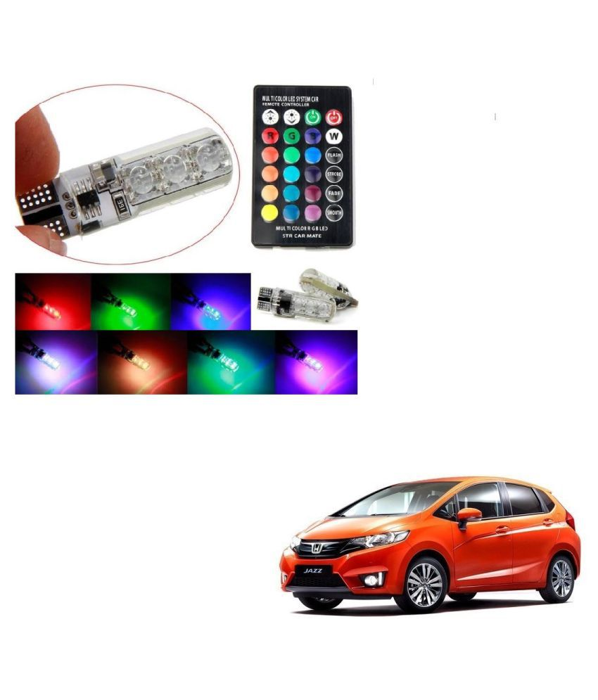Auto Addict Car 5050 T10 6 SMD Remote Control 12V RGB Car Reading Wedge Lights for Auto Tail Light,Side,Parking,Door,Parking,Indicator,Socket Lighting Bulb 2 Pcs For Honda New Jazz
