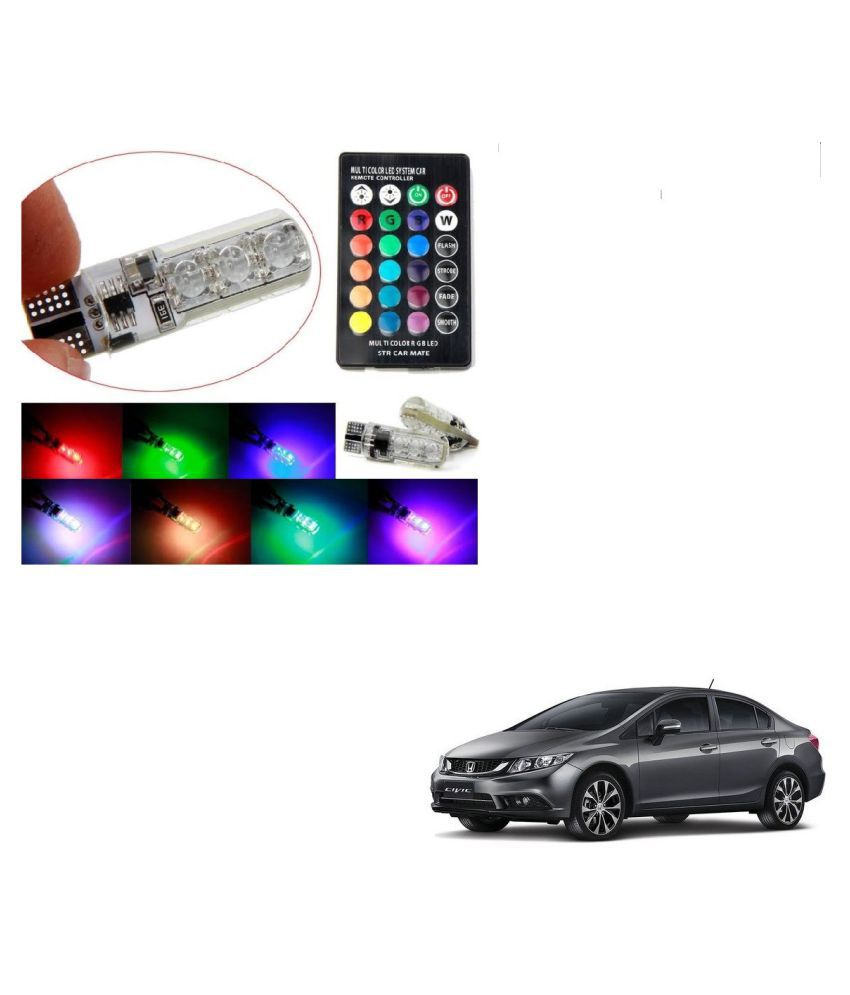 Auto Addict Car 5050 T10 6 SMD Remote Control 12V RGB Car Reading Wedge Lights for Auto Tail Light,Side,Parking,Door,Parking,Indicator,Socket Lighting Bulb 2 Pcs For Honda Civic