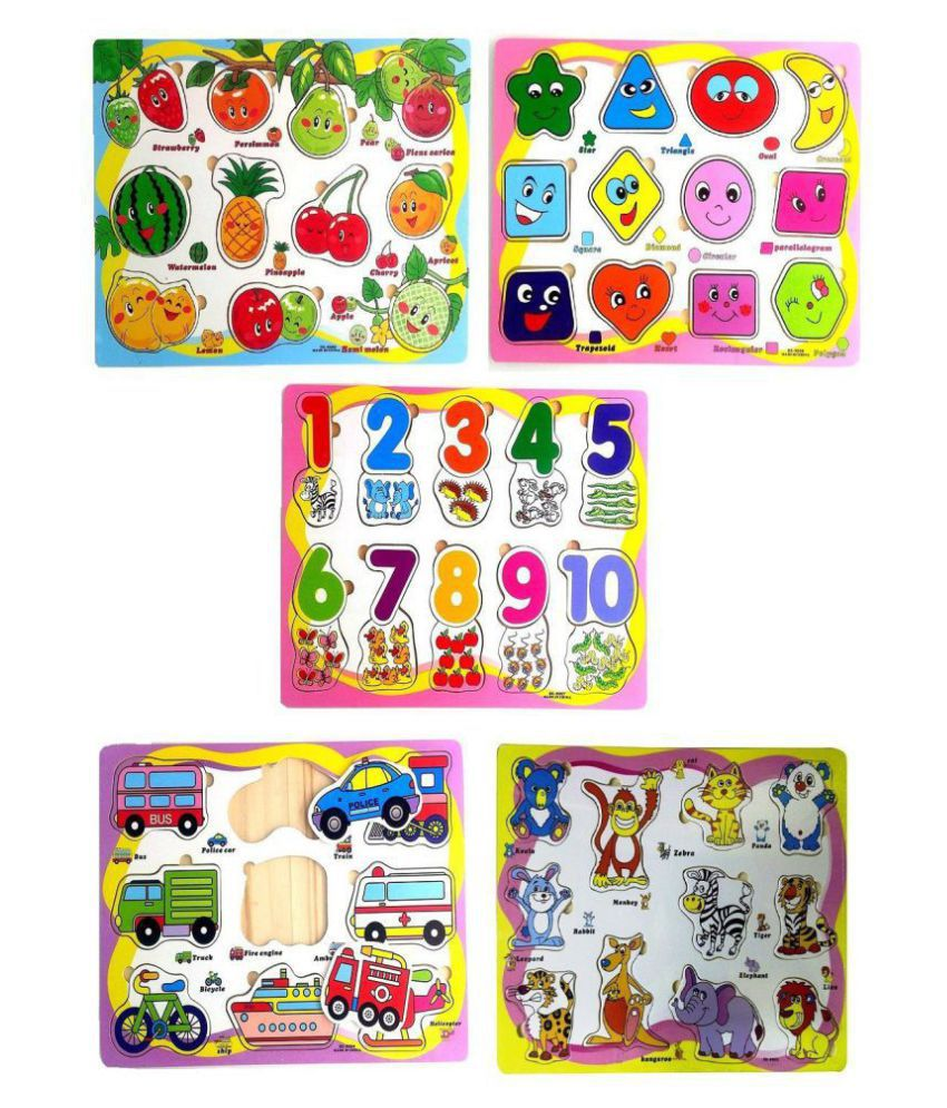 TEMSON Set of 5 Wooden Learning Puzzle Boards Learn Shapes Numbers Animals  Fruits Vehicles Wooden Puzzles for Kids