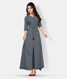K J Enterprises Grey Rayon Front Slit Kurti