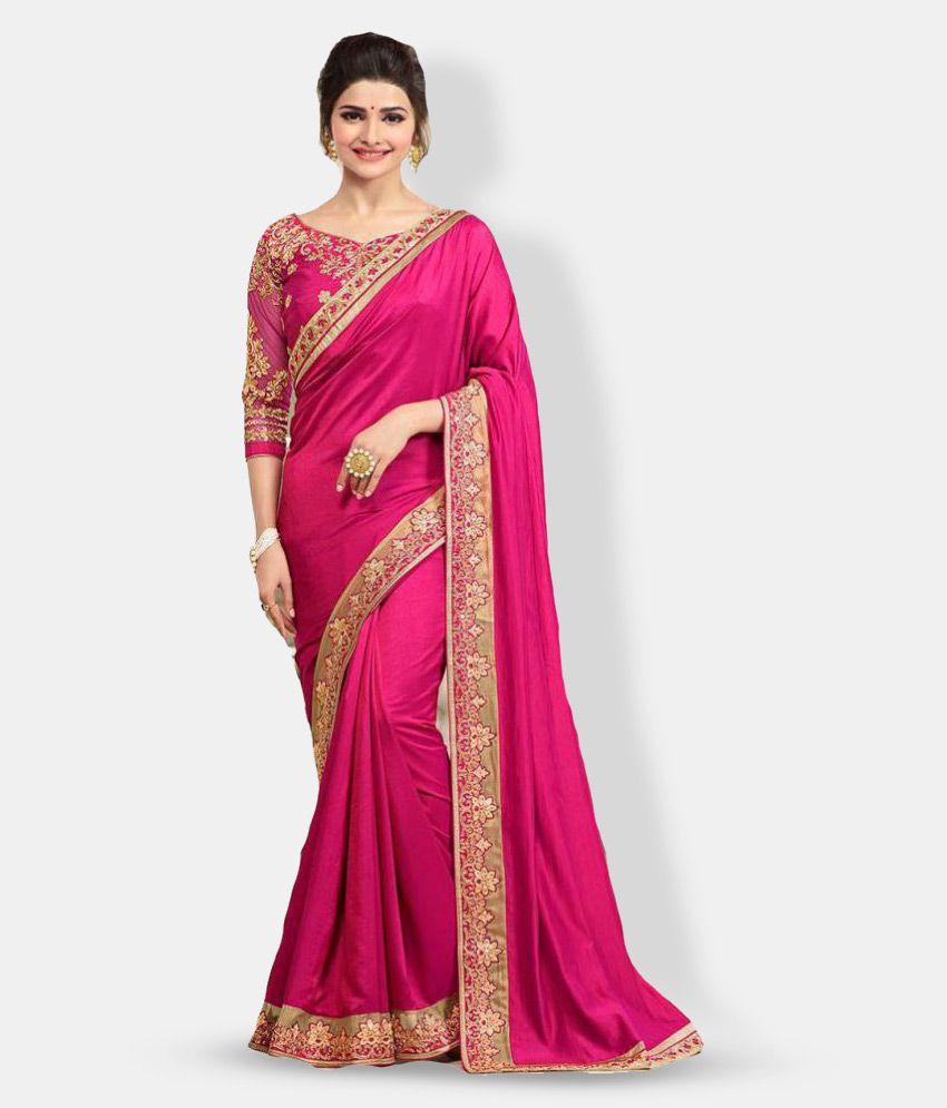 Pahal Fashion Pink Silk Saree