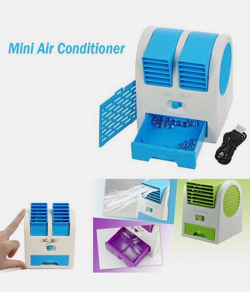 Vizio Mini Fan & Portable Dual Bladeless Small Water Air Cooler Powered by USB & Battery (Assorted Colors)