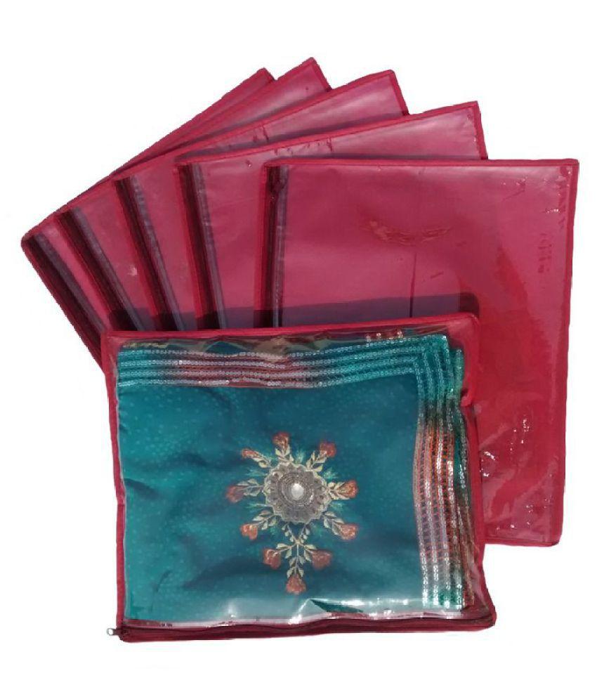 Indi Bargain Maroon Saree Covers   6 Pcs