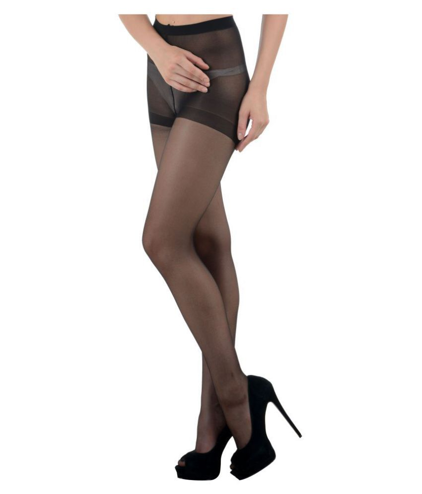 aba80d28b N2S Next2Skin Women Sheer Transparent Pantyhose Stocking Low Denier - Black