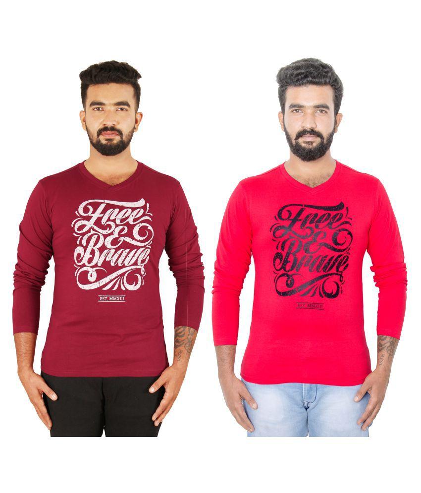 vuyhaz Multi Full Sleeve T-Shirt Pack of 2