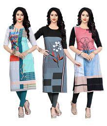 Fashion Tree Multicoloured Crepe Straight Kurti
