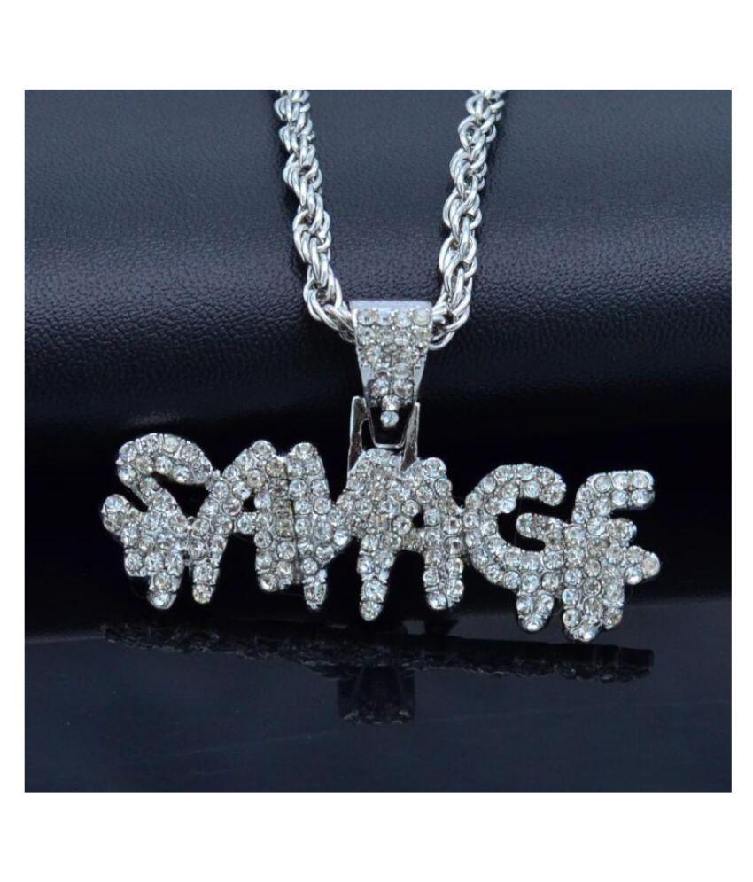 COLOGO 1pc Silver Color dashing fashionable men's necklace