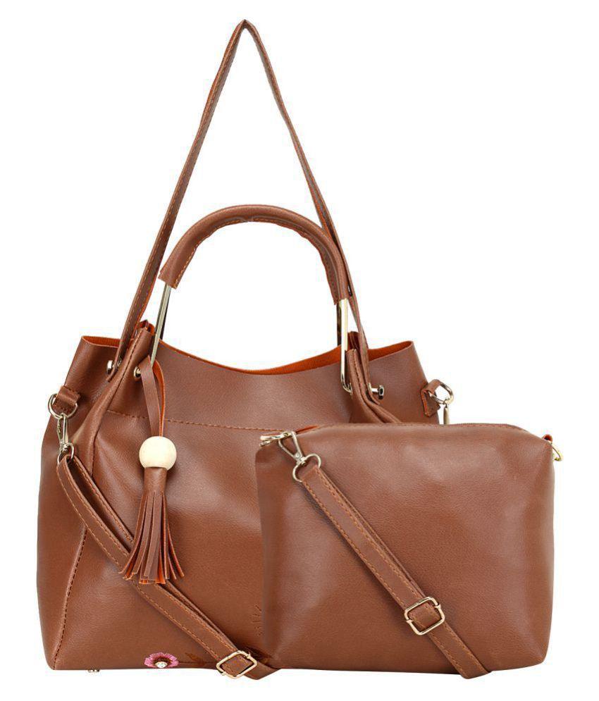 Mh Leather Product Tan P.U. Shoulder Bag