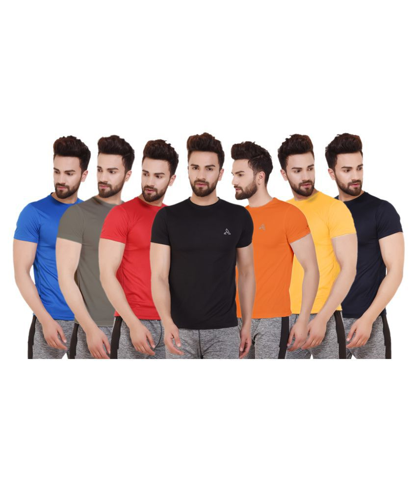 ATHLIV Multi Polyester T-Shirt Pack of 7