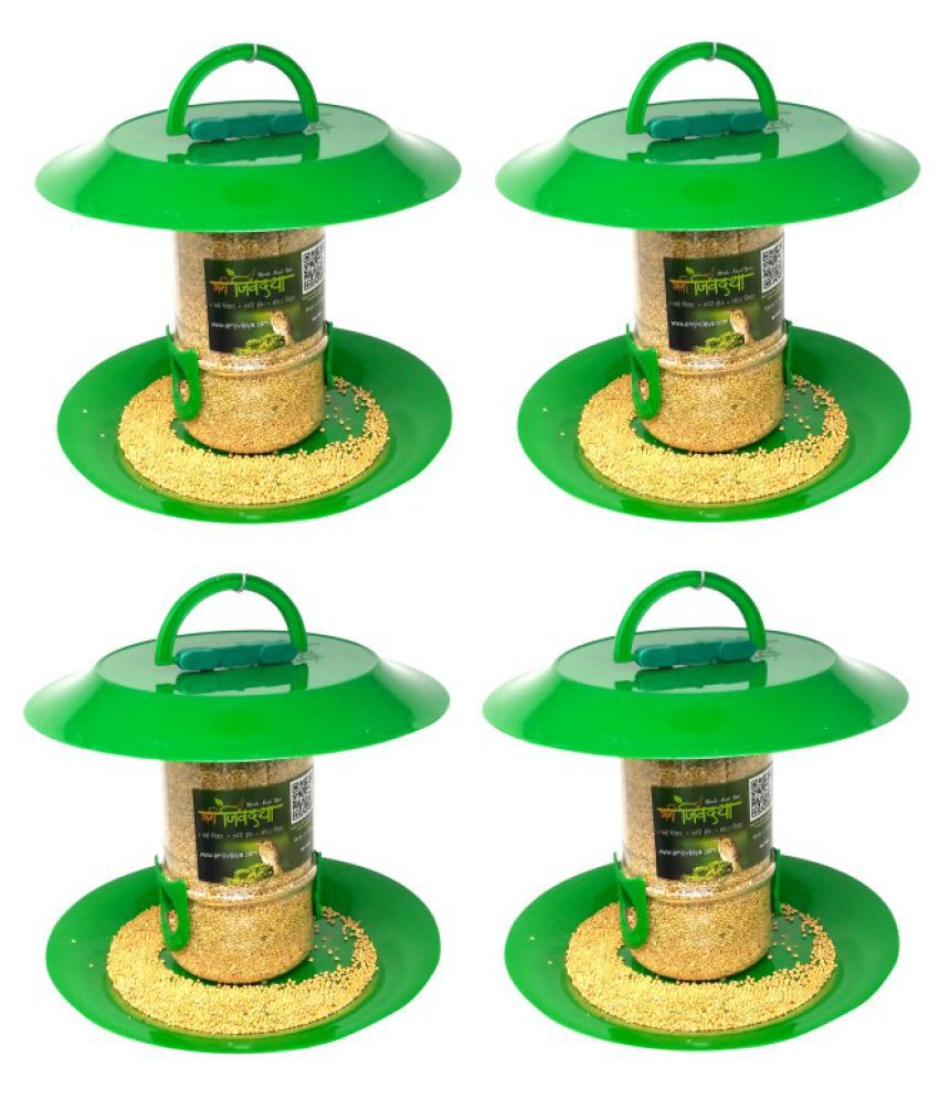 Small bird feeder with hut   (pack of 4)