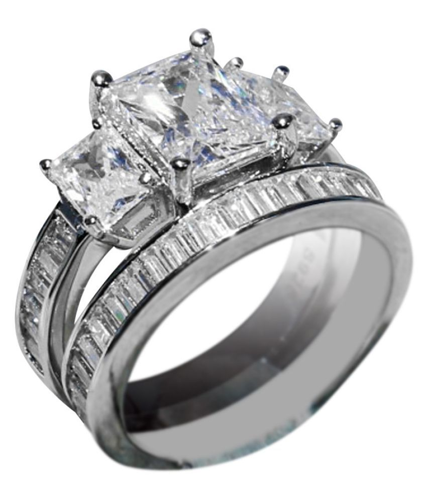 2-in-1 Womens Vintage White Diamond Silver Color gagement Wedding Band Ring Set Fashion Jewellery