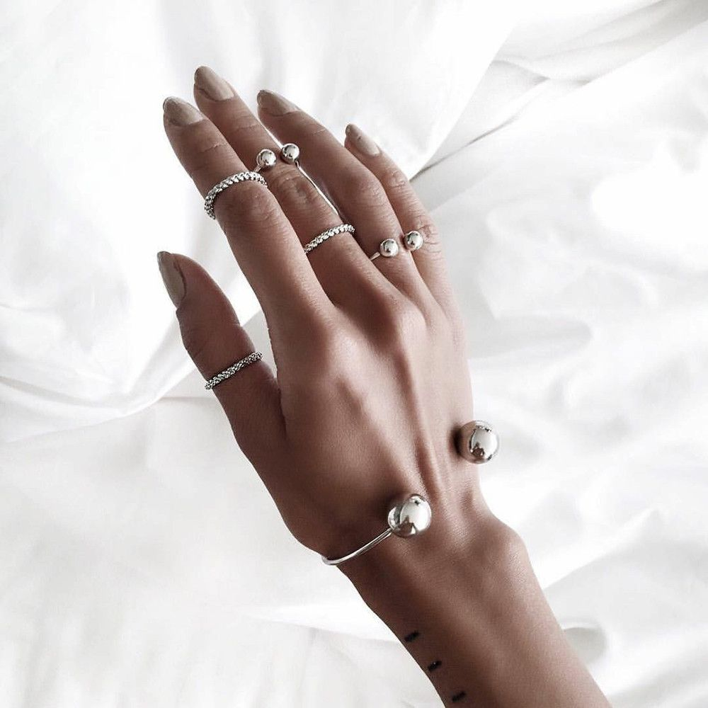 6pcs/Set Women Bohemian Vintage Silver Color Stack Rings Above Knuckle Rings Set Fashion Jewellery