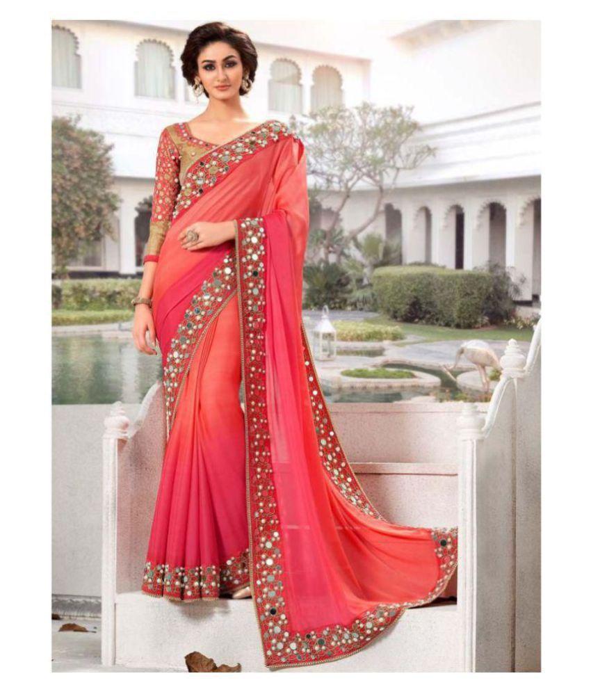 Darshita International Orange,Pink Georgette Saree