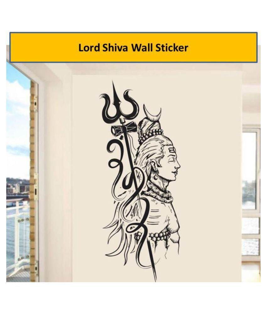 HOMETALES Wall Sticker Lord Shiva Monochrome Decor for Home Religious & Inspirational Sticker ( 100 cm x 40 cm )