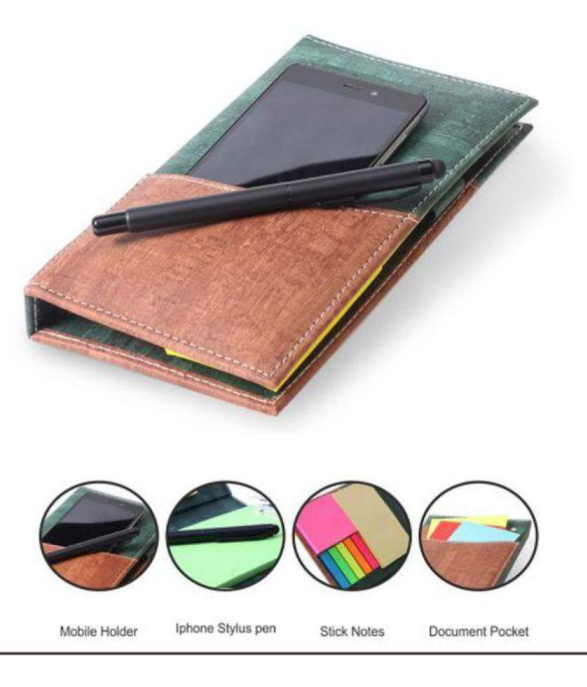 COI Memo Neon Note pad Pocket Planner/Memo Note Book with Mobile Holder Pocket, Sticky Notes & Clip Holder in Diary Style with Free iPhone Stylus Pen