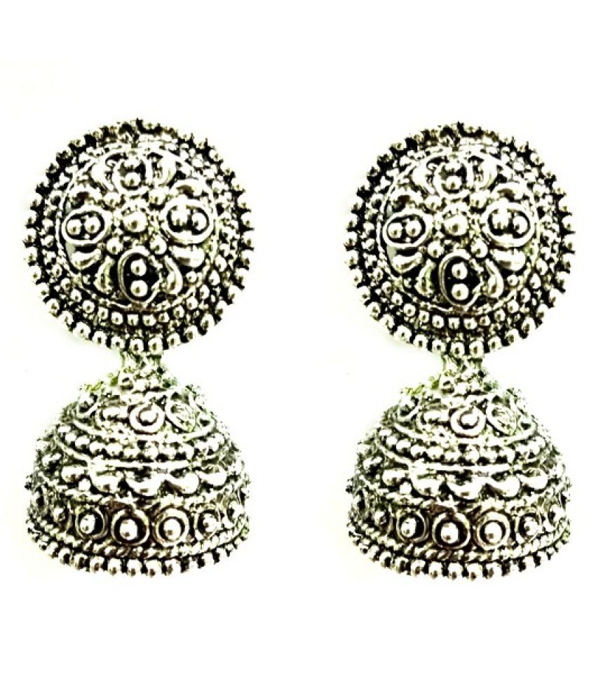 Zaffre Antique Style Silver Jhumkis Alloy Dangle Earring