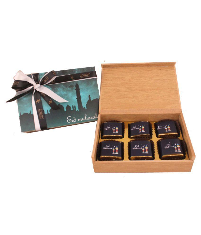 Zoroy Luxury Chocolate Chocolate Box Wooden Box of 6 EID MUBARAK chocolates 60 gm
