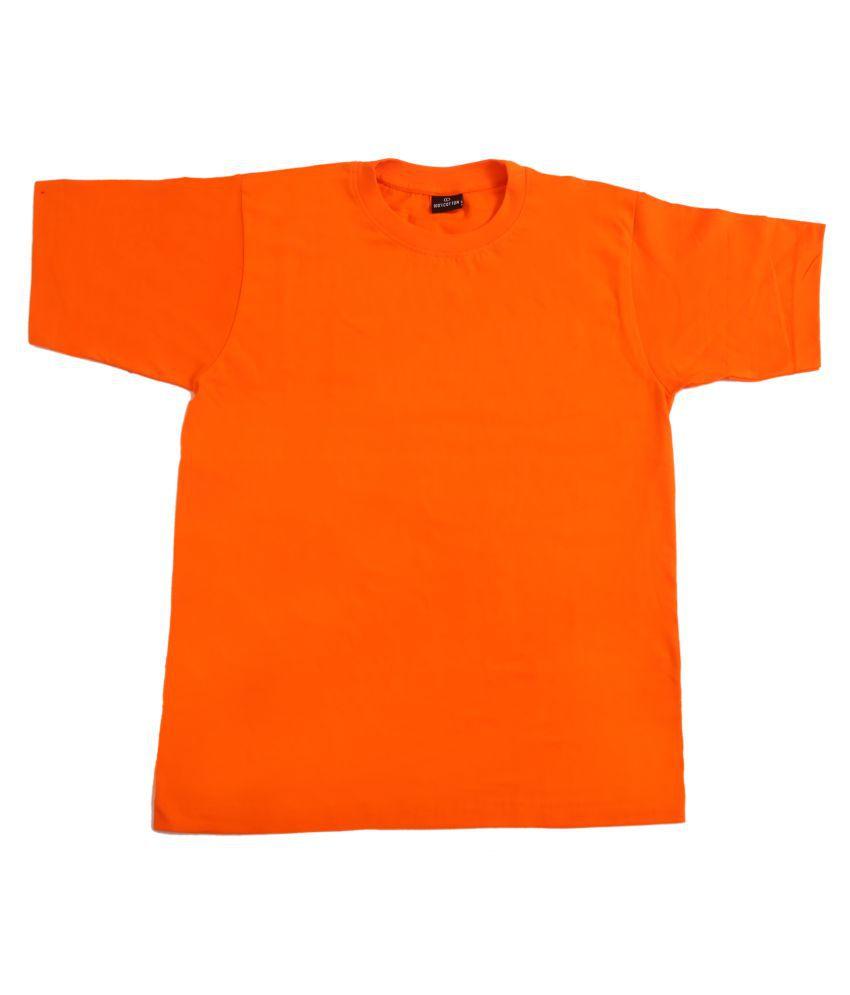 Fourgee Cotton Blend Orange Self Design T-Shirt