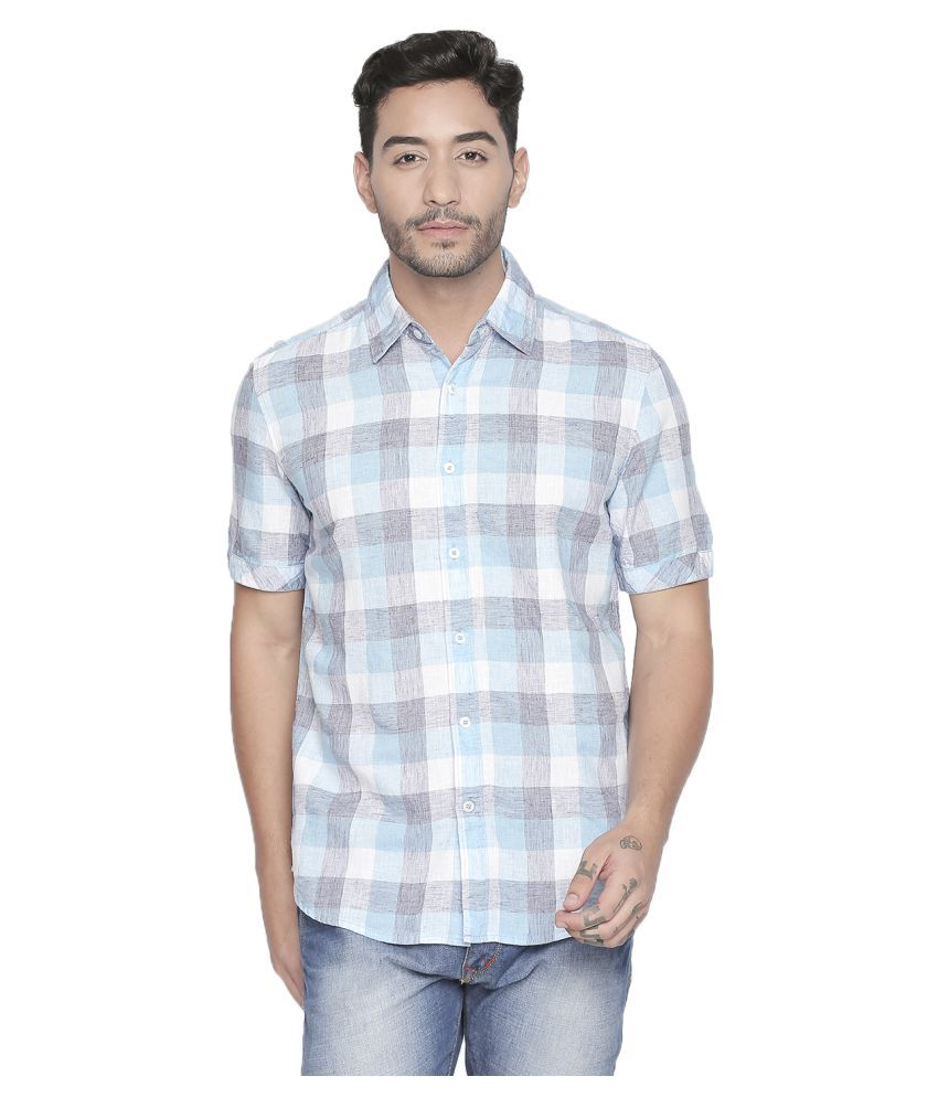 LION & HESS 100 Percent Cotton Blue Checks Shirt