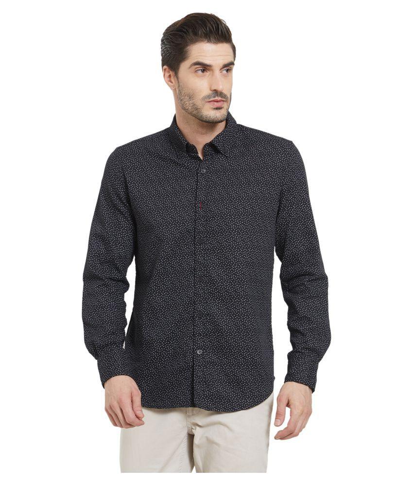 LION & HESS 100 Percent Cotton Black Prints Shirt