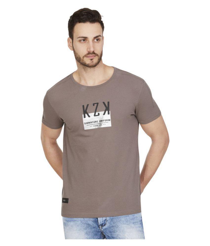 Kozzak Cotton Blend Grey Solids T-Shirt