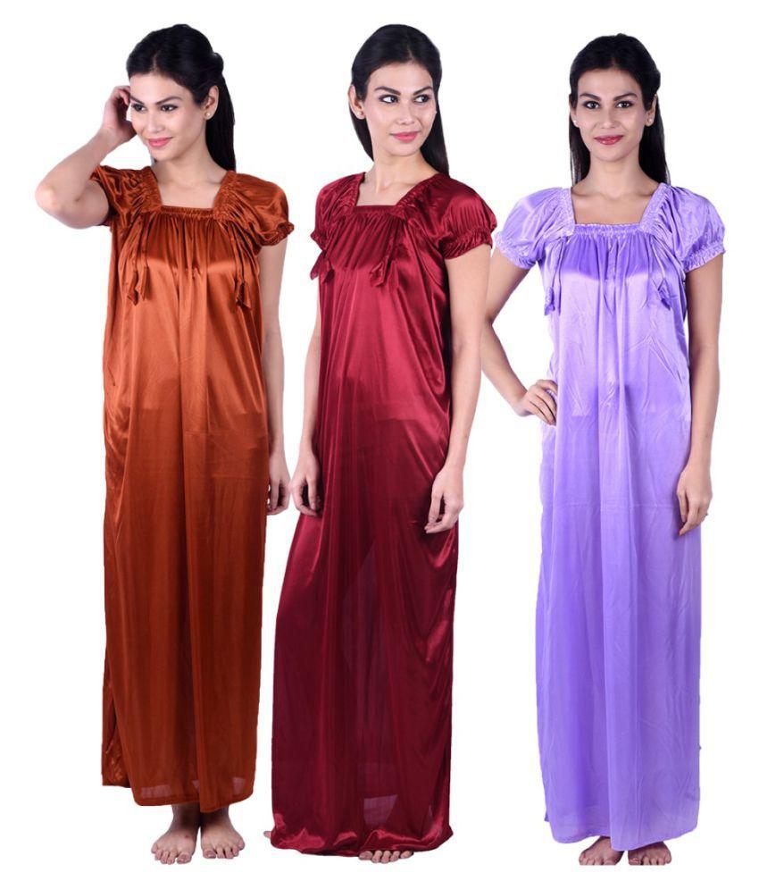 Gospel Satin Night Dress - Multi Color