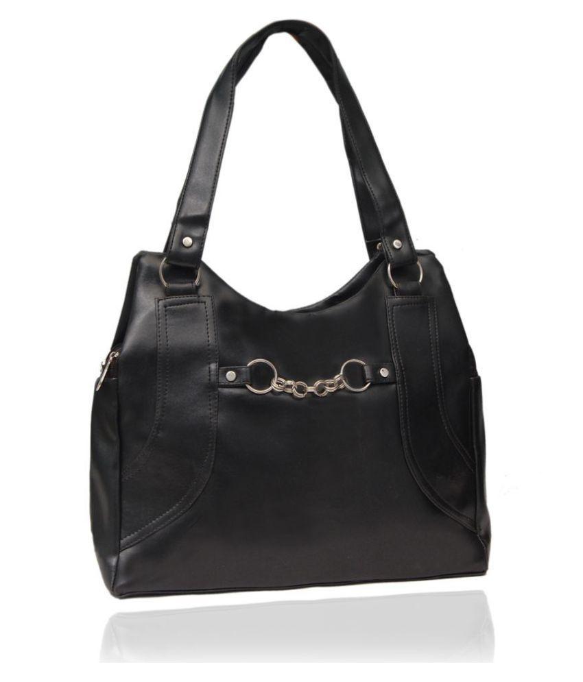 Borse Black Pure Leather Shoulder Bag