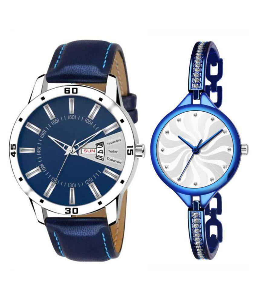Herita Enterprise men and women analogue stylish fashionalble couple watch pack of 2 with 1364956683