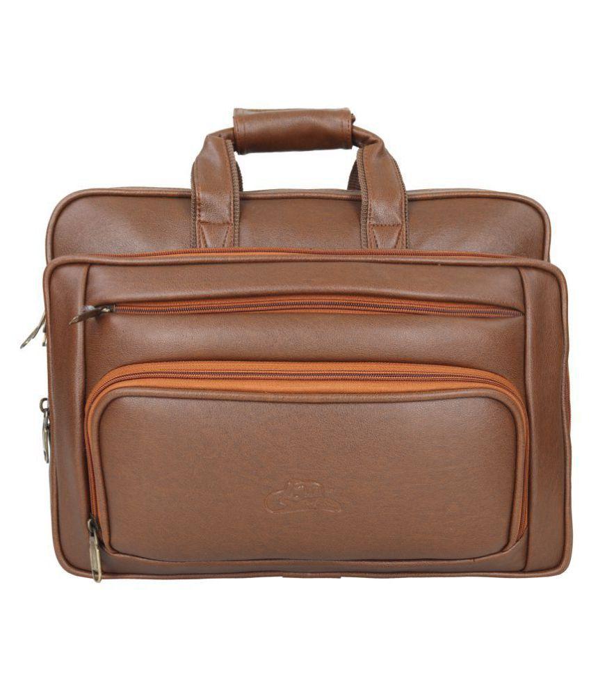 Leather World Messenger Laptop Bag Tan P.U. Office Bag