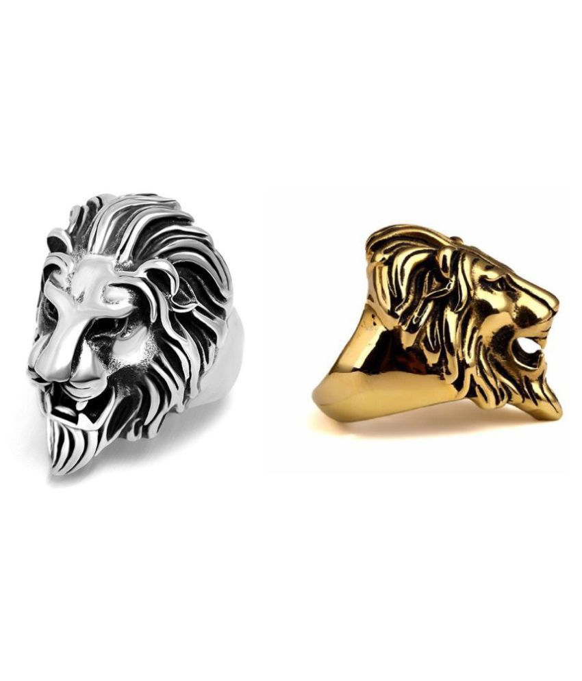 Lion Ring Gold And Silver Best Quality Best Offers Combo