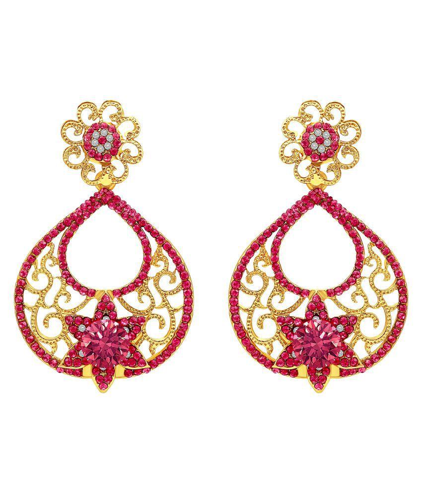 MFJ Fashion Jewellery Trendy Brass Gold Plated Drop Earring For Women