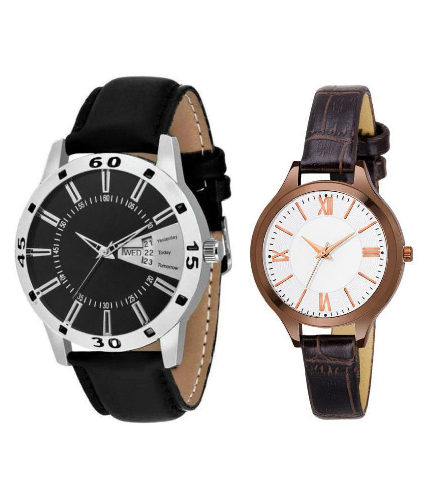 vasant impex men and women analogue stylish fashionalble couple watch pack of 2 with 1364956680