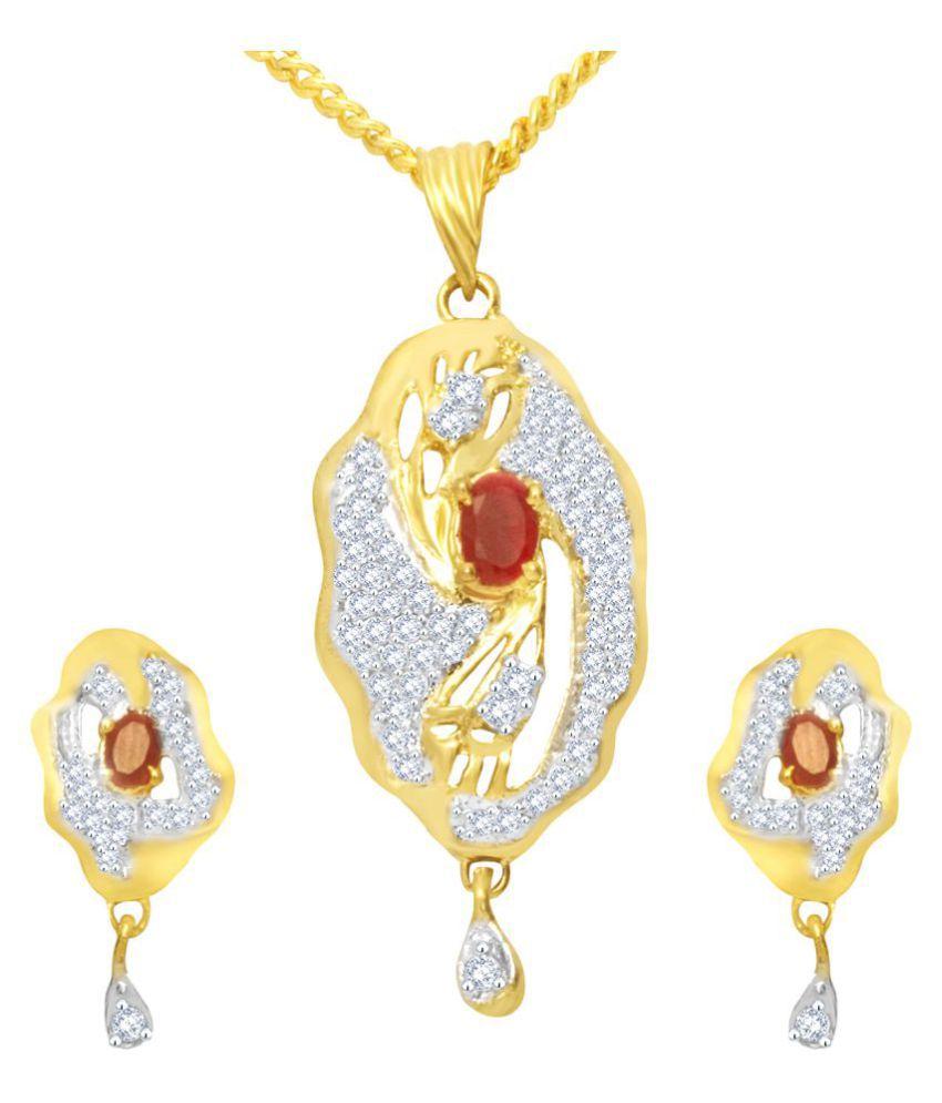 MFJ Fashion Jewellery Wavy Brass Gold Plated Pendants Set For Women