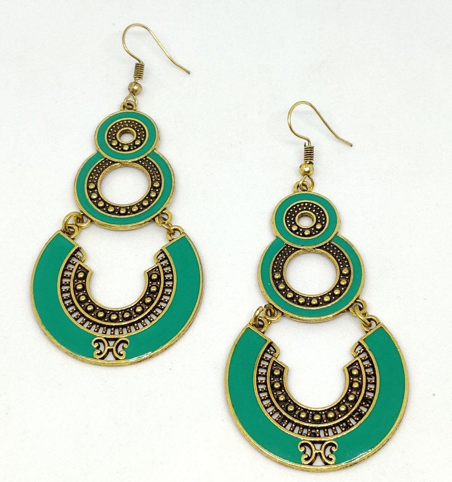 Zaffre Golden Plated oxidised Fancy Wear Long earrings for girls and women