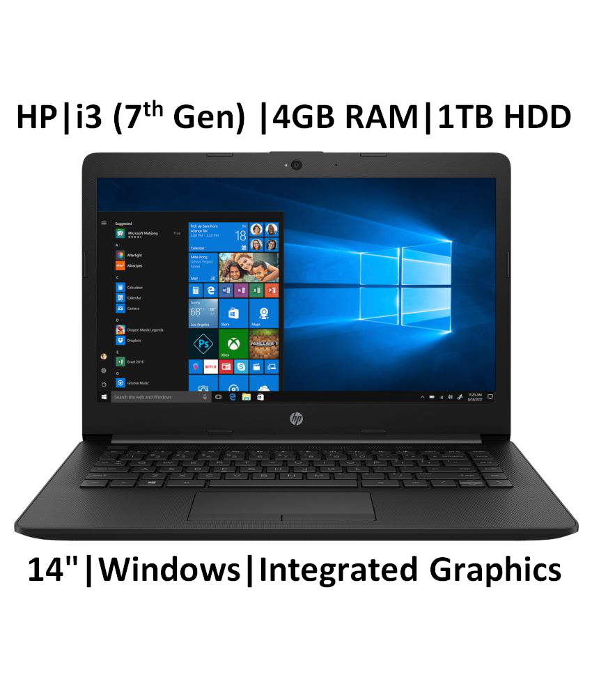HP 14 ck0119tu 2019 14 inch Laptop  7th Gen i3 7020U/4 GB/1TB/Windows 10 Home/Integrated Graphics , Jet Black
