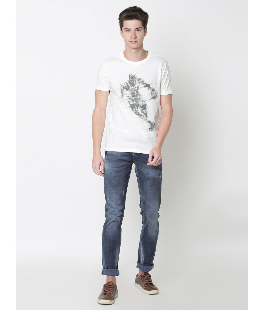 Newport White Half Sleeve T-Shirt