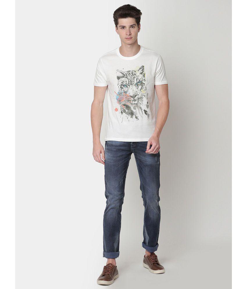 Newport White Half Sleeve T-Shirt