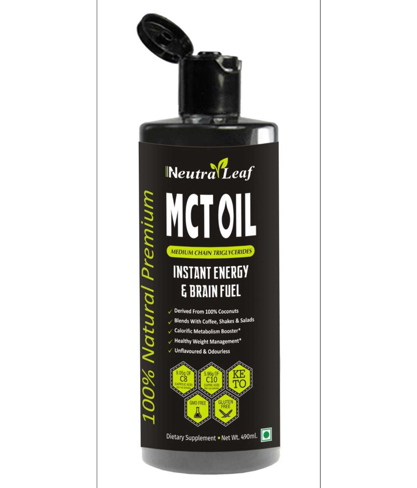 Neutra Leaf MCT Oil From Coconut Unsweetened Keto Dietary Supplement Health Drink 490 ml Unflavoured