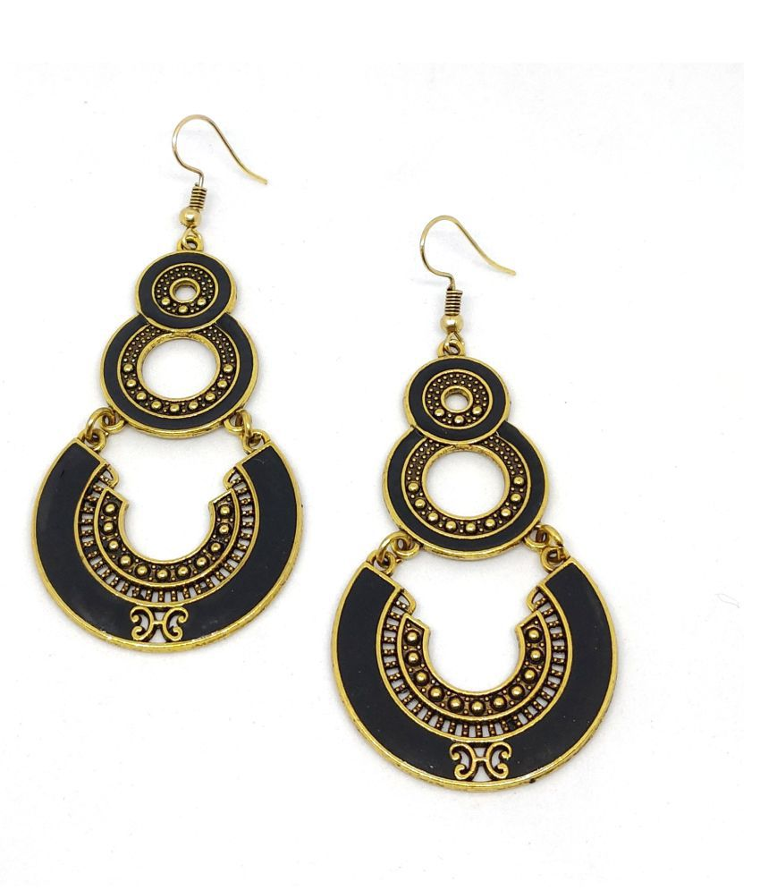 Zaffre Golden Plated oxidised Fancy Wear Long earrings for girls and women