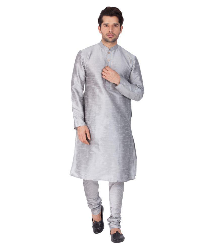 Vastramay Dark Grey Cotton Blend Kurta Pyjama Set
