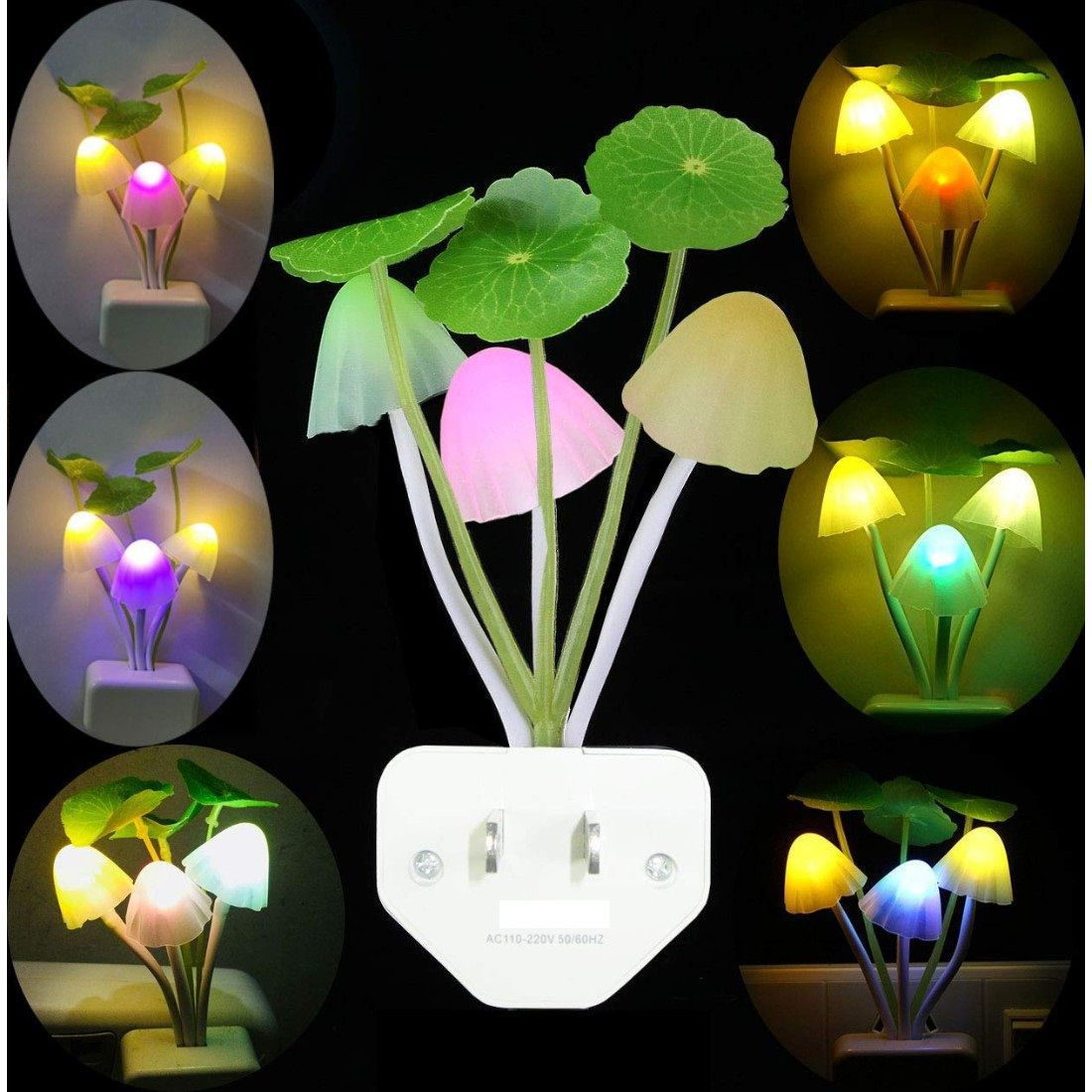 Euros Fancy Mushroom Shape Automatic Sensor LED Color Changing Light Night Lamp Multi - Pack of 1