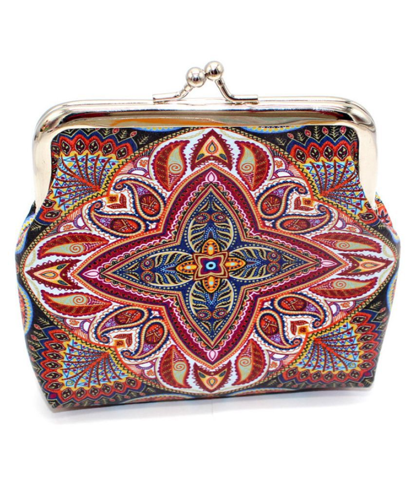 Pouches Bags and Storage for Your Fashion Needs Multicolor Women Geometric Print Character Leather Wallet Coin Purse Card Holders Handbag