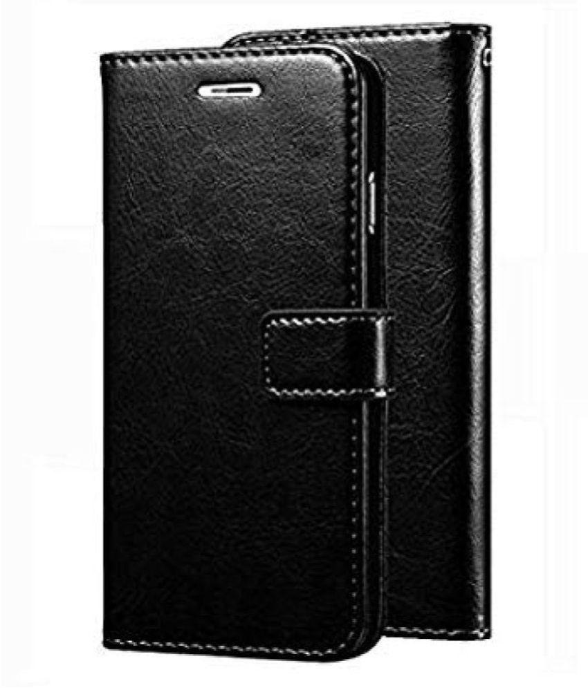 Samsung galaxy J2 Flip Cover by Doyen Creations - Black Original Vintage Look Leather Wallet Case