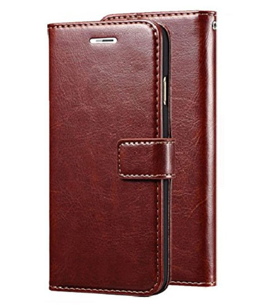 Xiaomi Redmi note 6 Pro Flip Cover by Kosher Traders - Brown Original Vintage Look Leather Wallet Case