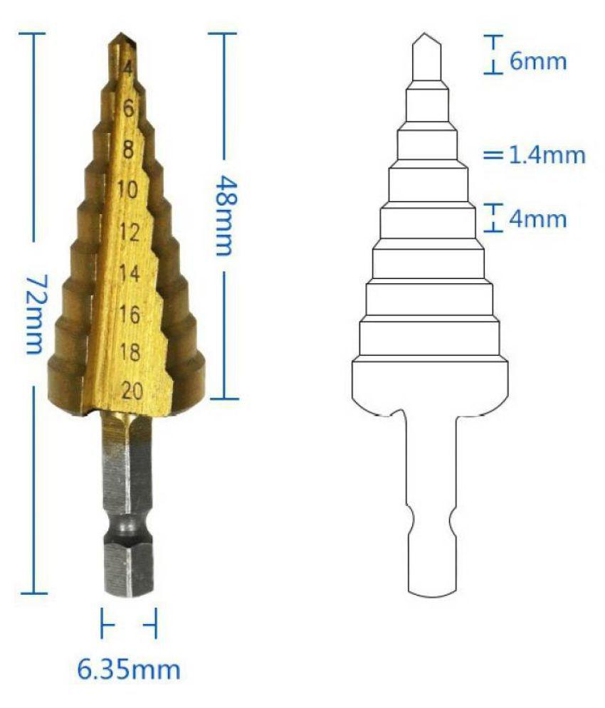 Step Drill Bit >> Aas Titanium Coated Steel Hss Step Drill Bit 4 20mm