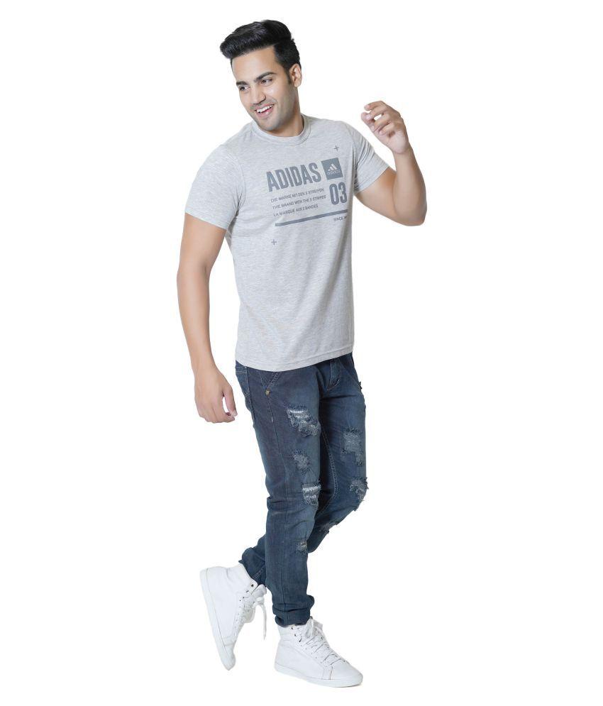 Adidas Grey Cotton T-Shirt